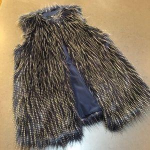 Mossimo Blue/Gray Fur Vest